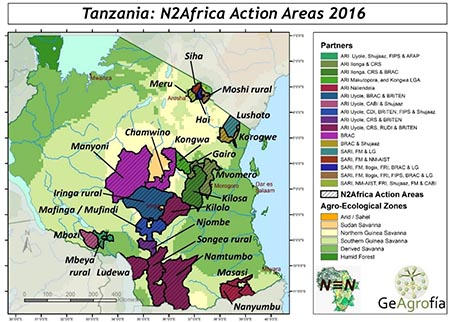 Tanzania N2Africa Action Areaas